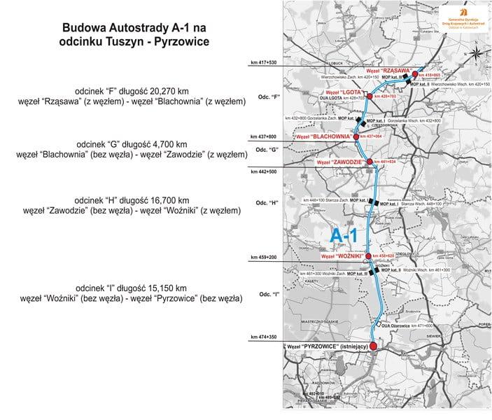 Kolejne 57 km autostrady A1