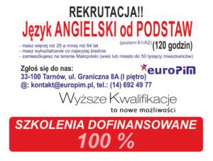 Język angielski od PODSTAW – rekrutacja (kurs w Tarnowie) – DOFINANSOWANY w 100%