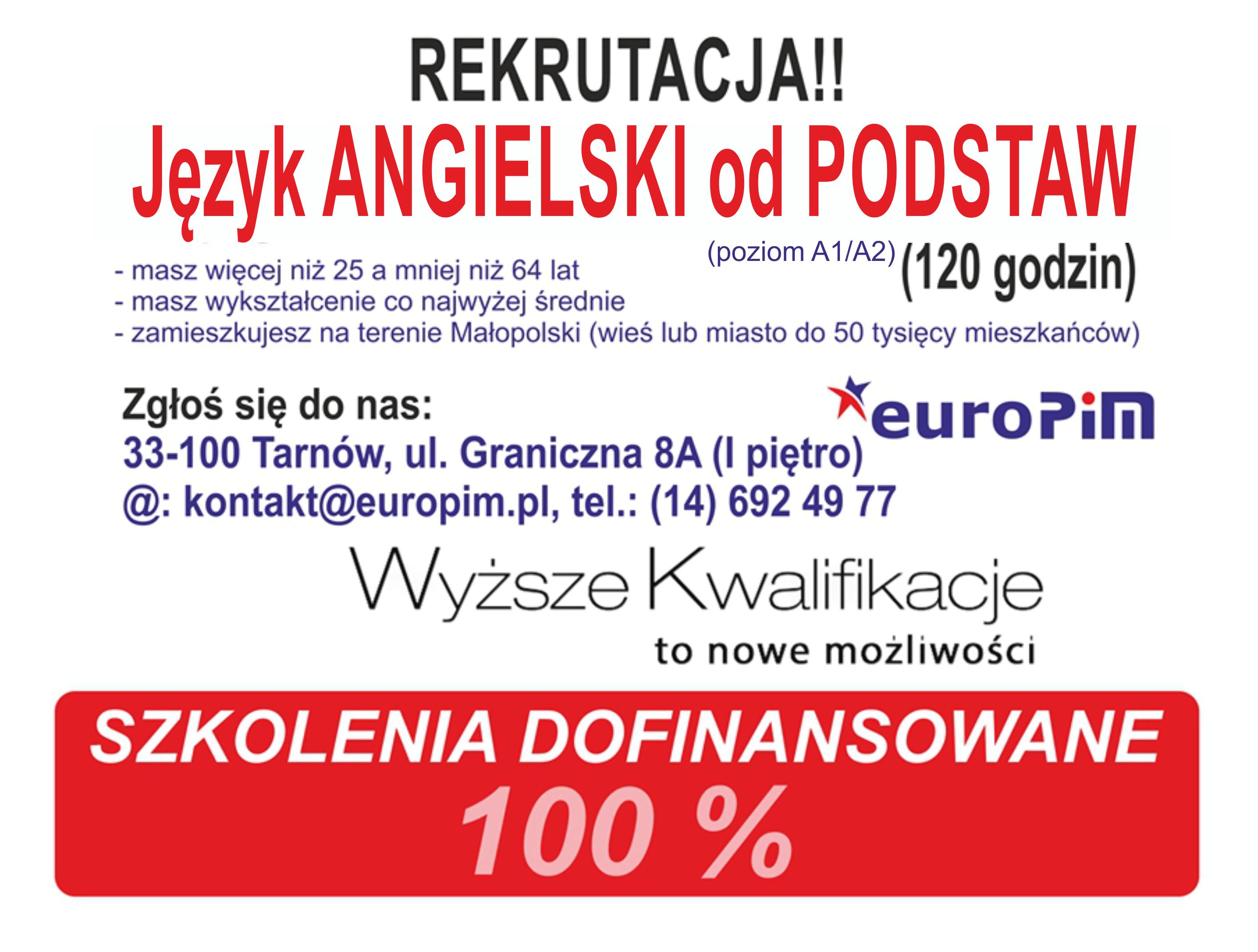 Język angielski w Tarnowie ZA DARMO!!! – rekrutacja trwa!