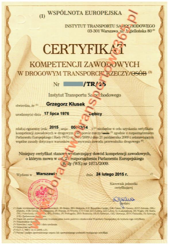 Licencje na krajowy transport drogowy – stan na 31 grudnia 2014 r.