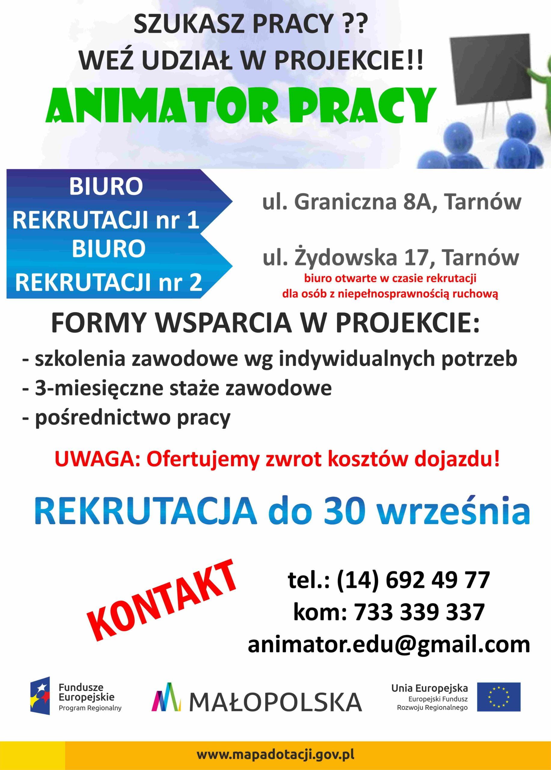 """Weź udział w projekcie """"ANIMATOR PRACY"""" !!"""