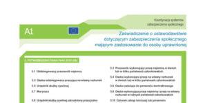 A1 ZUS – wydawane na podstawie certyfikatu rezydencji podatkowej