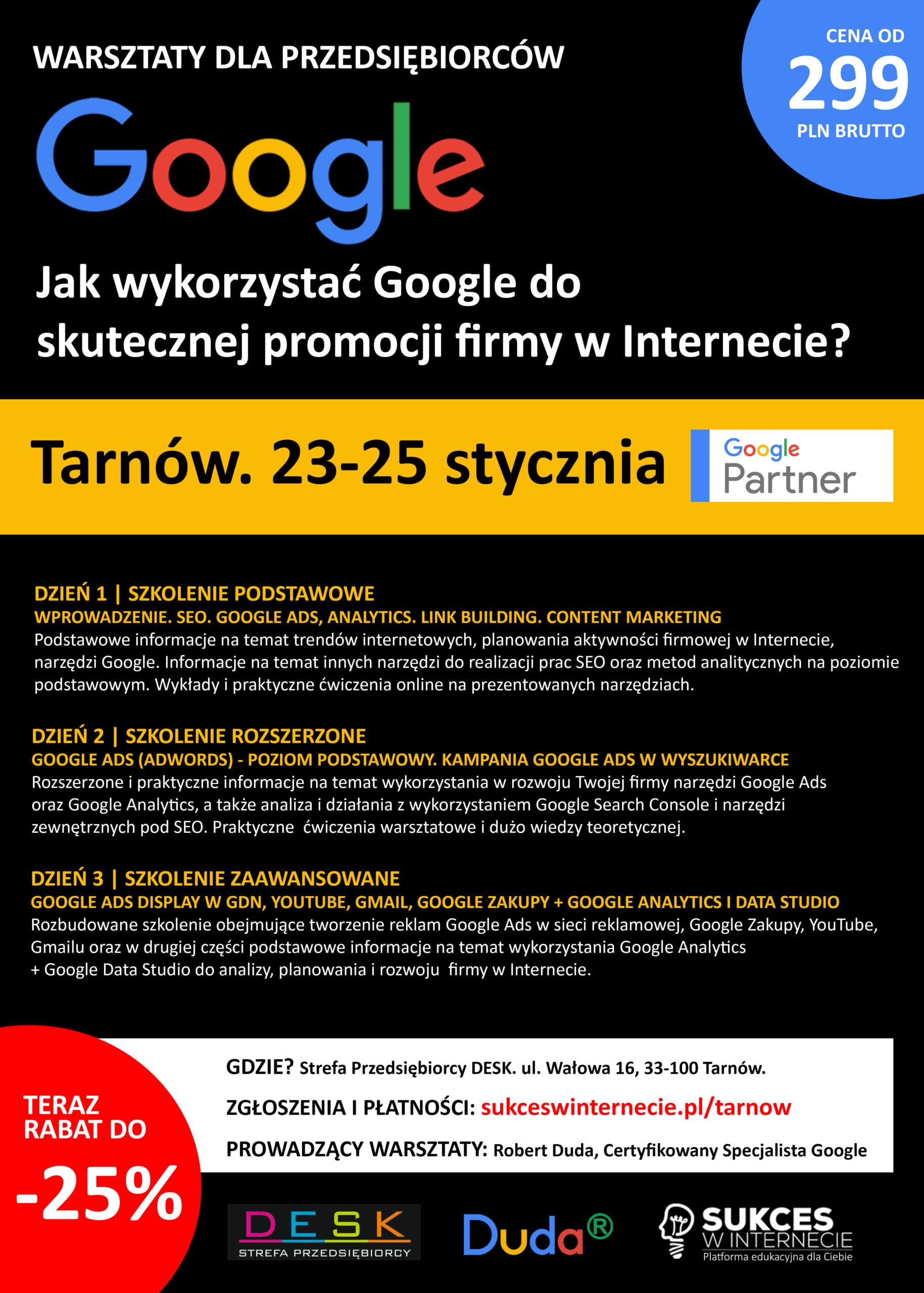 Jak wykorzystać Google do skutecznej promocji firmy w Internecie? – warsztaty dla przedsiębiorców