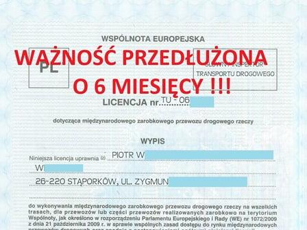 Licencja, Zezwolenia, Świadectwa WAŻNOŚĆ o pół roku lub dłużej
