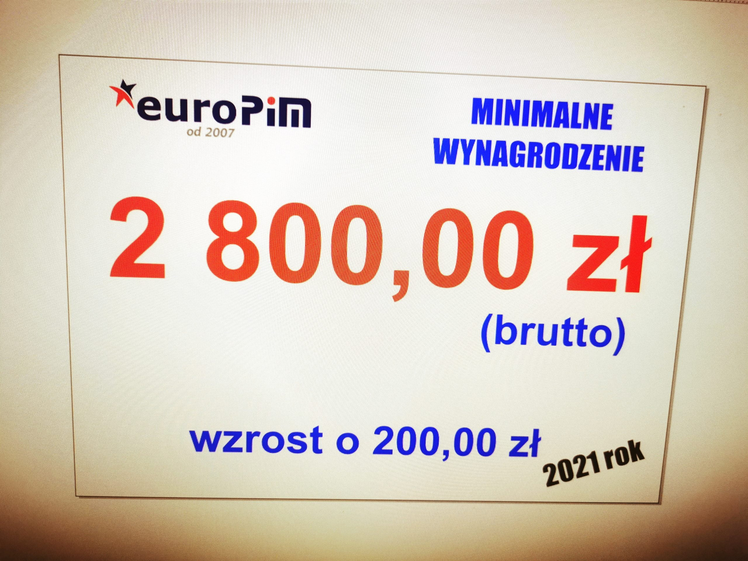 Płaca minimalna 2021 (2 800,00 zł miesięcznie; 18,30 zł stawka godzinowa)