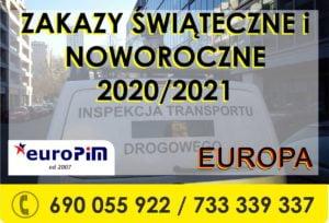 Zakazy ŚWIĄTECZNE w Transporcie – EUROPA